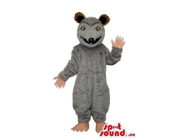 Customised Grey Rat Animal Canadian SpotSound Mascot With Brown Ears