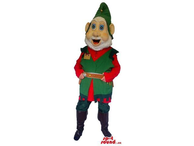 Dwarf Canadian SpotSound Mascot With A White Beard Dressed In A Green Hat