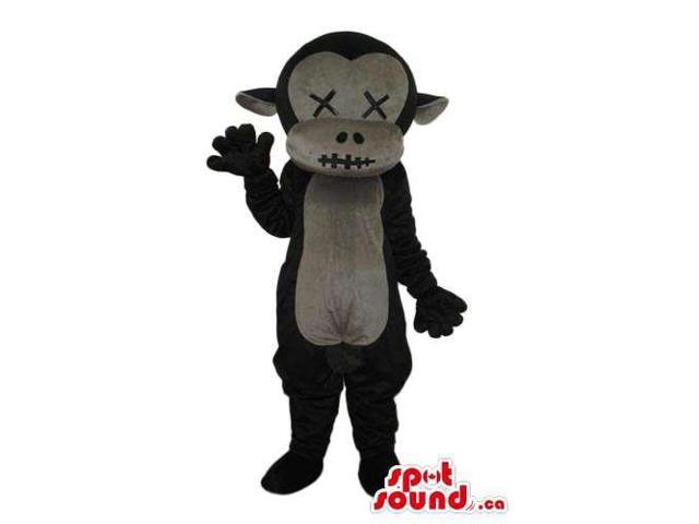 Black Plush Monkey Canadian SpotSound Mascot With A Grey Belly And Stitched Eyes