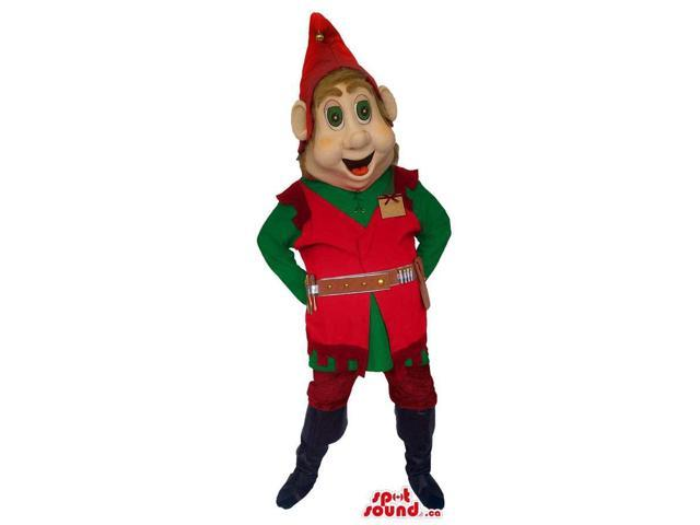 Dwarf Canadian SpotSound Mascot With Dressed In Red And Green Clothes And Hat