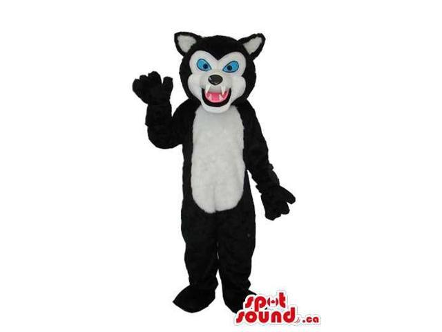 Black Wolf Plush Canadian SpotSound Mascot With A White Belly And Blue Eyes