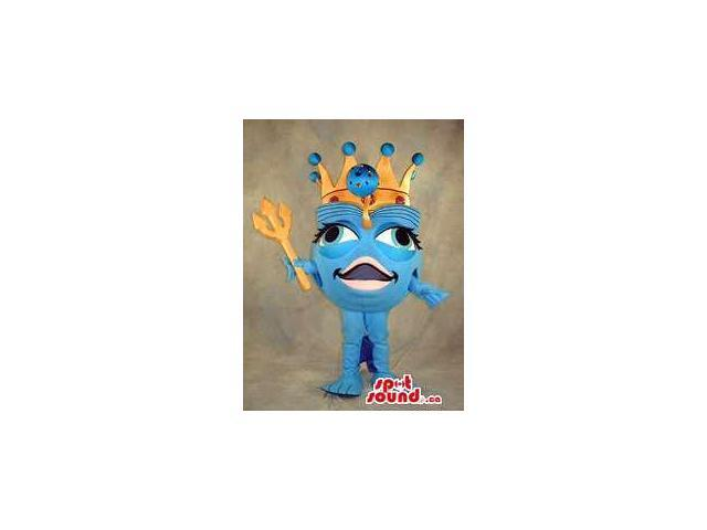 Large Blue Head Plush Canadian SpotSound Mascot With A Queen'S Crown And Large Eyes