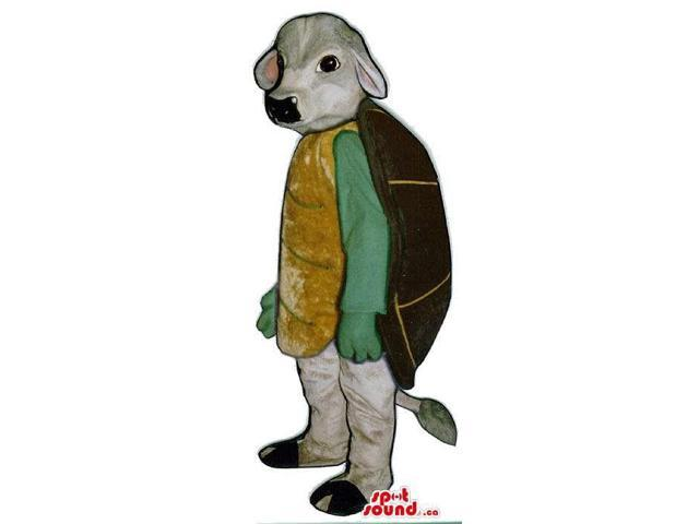 Grey Cow Plush Canadian SpotSound Mascot Dressed As A Turtle With A Back Shell