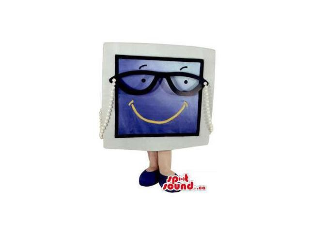 Peculiar Large Screen Canadian SpotSound Mascot Dressed In Glasses With A Smile
