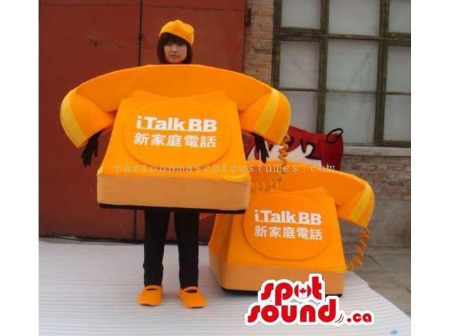 Customised Orange Large Landline Phone With Text Canadian SpotSound Mascot