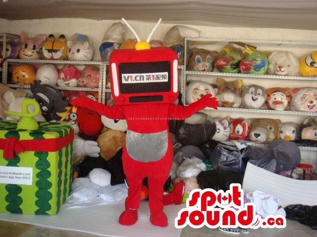 Customised Red Robot Plush Canadian SpotSound Mascot With Space For Text