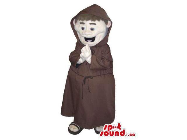 Fantastic Monk Human Character With Brown Clothes