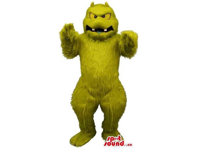 Green Woolly Monster Plush Canadian SpotSound Mascot With Yellow Eyes