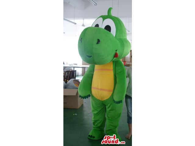 Customised Green Dragon Canadian SpotSound Mascot With A Yellow Belly