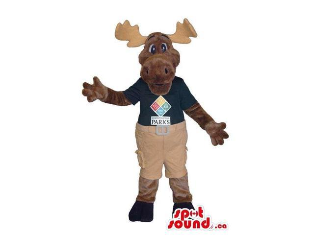 Cute Reindeer Plush Canadian SpotSound Mascot Dressed In Gear With Text And Logo