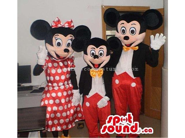 Three Disney Character Cartoon Canadian SpotSound Mascots In Various Sizes
