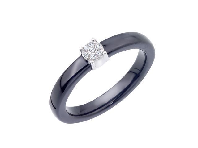 Diamond Accent Promise Ring in Black Ceramic and Sterling Silver 0 05 carats