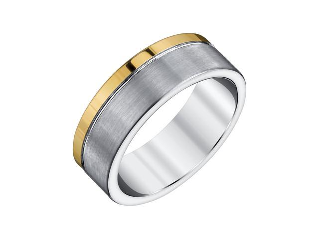 Mens 8mm Tungsten Band with Yellow Accent