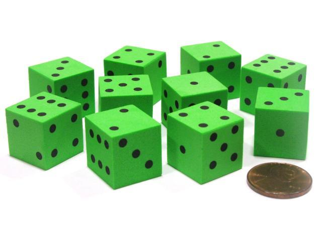 Dice Office Systems Set of 10 D6 16mm Foam Dice with Square Corners - Green ...