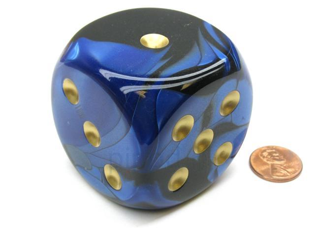 Gemini 50mm Huge Large D6 Chessex Dice, 1 Piece - Black-Blue with Gold Pips