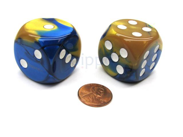 Gemini 30mm Large D6 Chessex Dice, 2 Pieces - Blue-Gold with White Pips