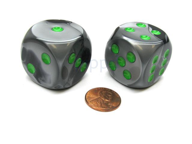 Gemini 30mm Large D6 Chessex Dice, 2 Pieces - Black-Grey with Green Pips