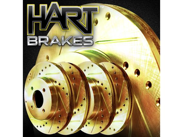 [2 FRONT + 2 REAR] Gold Hart *DRILLED & SLOTTED* Disc Brake Rotors C2913