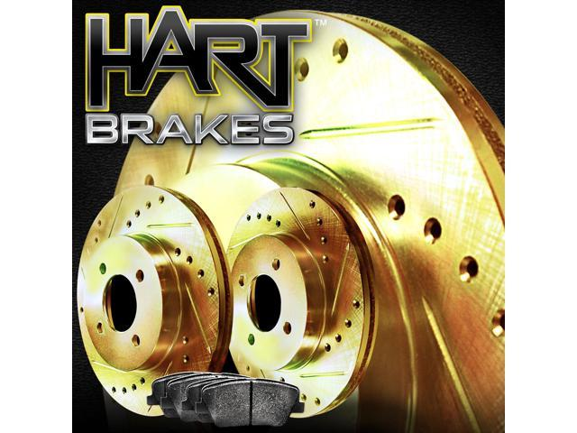 [FRONT KIT] Gold Hart *DRILLED & SLOTTED* Disc Brake Rotors + Ceramic Pads F2718