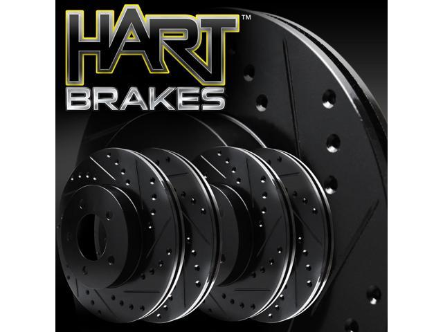[2 FRONT + 2 REAR] Black Hart *DRILLED & SLOTTED* Disc Brake Rotors C2729