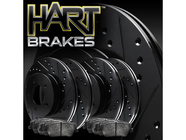 [FRONT+REAR KIT] Black Hart *DRILLED & SLOTTED* Brake Rotors +Ceramic Pads C1307
