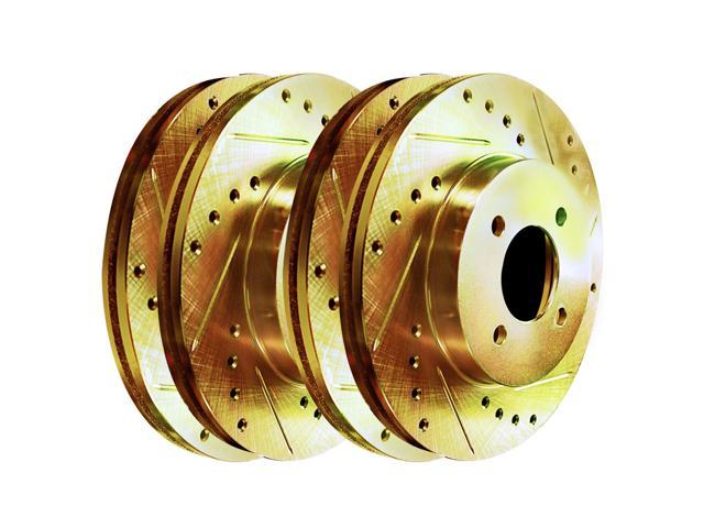 [2 FRONTS] Gold Hart *DRILLED & SLOTTED* Disc Brake Rotors F2837