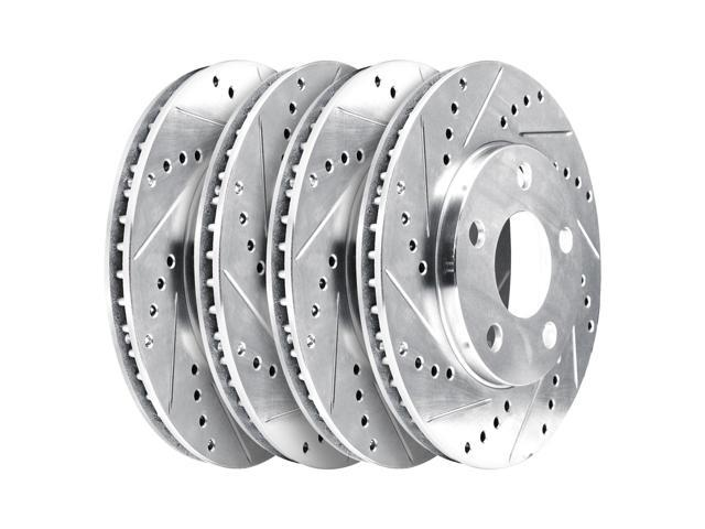 [2 FRONT + 2 REAR] 4 Platinum Hart *DRILLED & SLOTTED* Disc Brake Rotors - 2496
