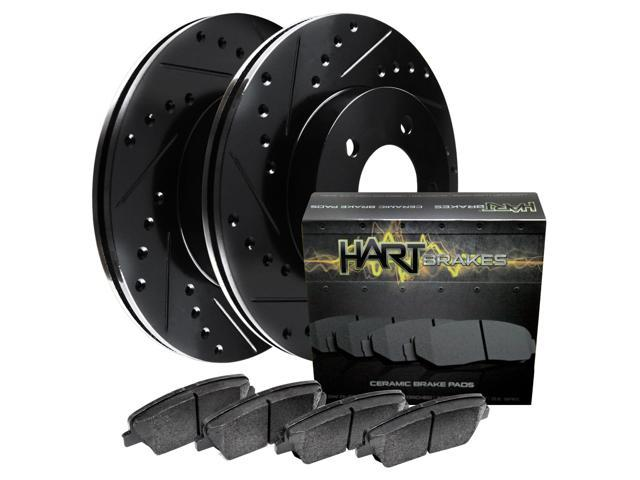[FRONT KIT] Black Hart *DRILLED & SLOTTED* Disc Brake Rotors +Ceramic Pads F2743