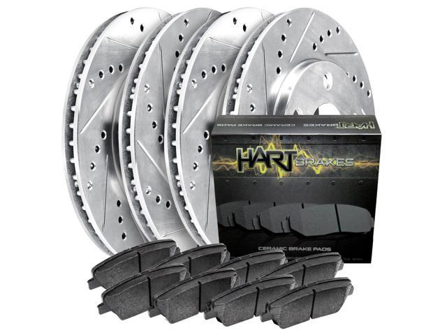 [FRONT+REAR KIT]Platinum Hart -*DRILL & SLOT* Brake Rotors  +CERAMIC Pads- 2024