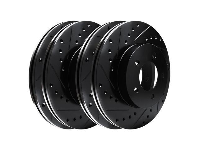 [2 FRONTS] Black Hart *DRILLED & SLOTTED* Disc Brake Rotors F2418