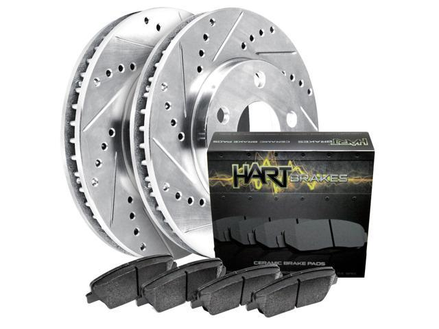 [FRONT KIT]Platinum Hart *DRILLED & SLOTTED* Brake Rotors +CERAMIC Pads- 2666