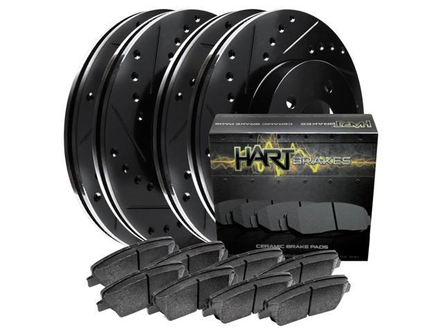 [FRONT+REAR KIT] Black Hart *DRILLED & SLOTTED* Brake Rotors +Ceramic Pads C2438