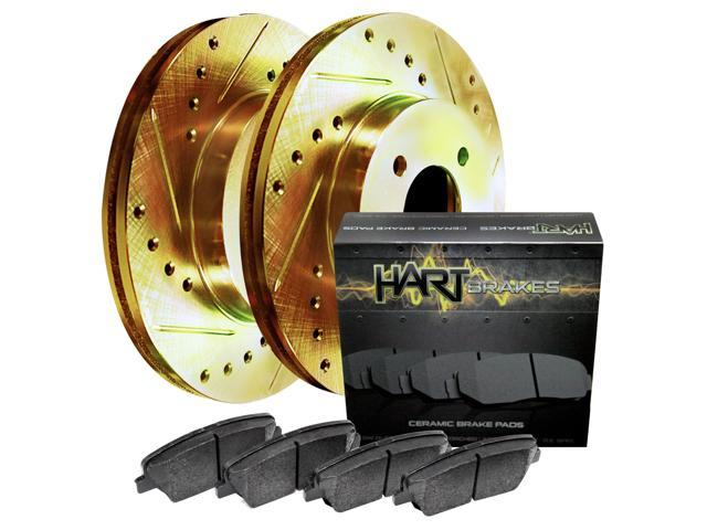 [FRONT KIT] Gold Hart *DRILLED & SLOTTED* Disc Brake Rotors + Ceramic Pads F1863