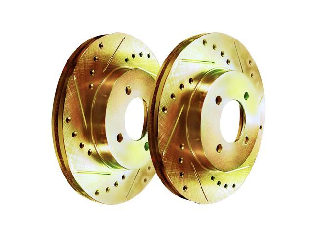 [2 FRONTS] Gold Hart *DRILLED & SLOTTED* Disc Brake Rotors F2684