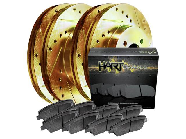 [FRONT+REAR KIT] Gold Hart *DRILLED & SLOTTED* Brake Rotors + Ceramic Pads C1965