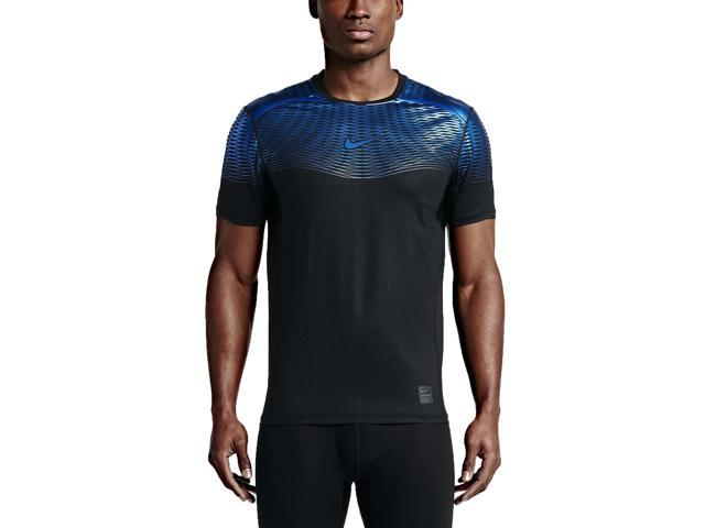 Nike Men's Pro Hypercool Max Fitted Training Top-Black/Deep Royal Blue -Medium