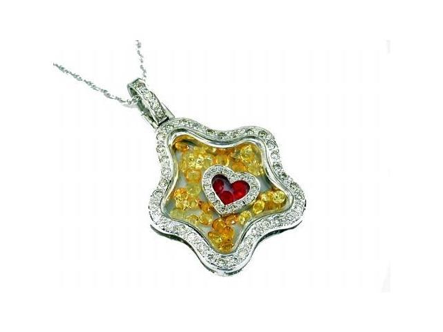 White Diamond & Yellow Sapphire & Ruby Pendant