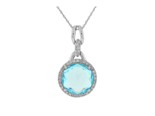 White Diamond & Blue Topaz Pendant