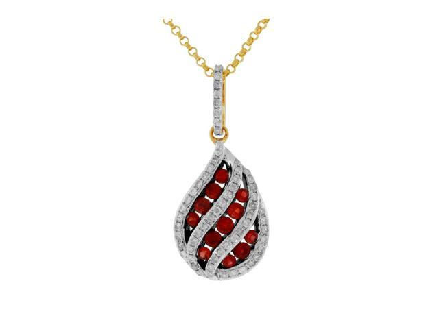 White Diamond & Ruby Pendant