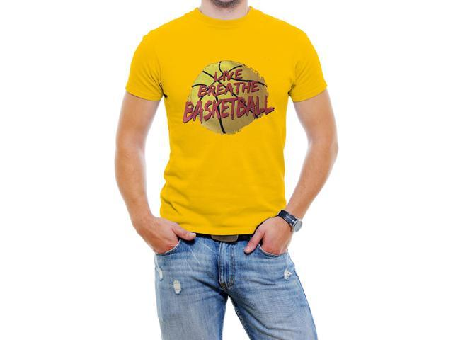 Live Breathe BASKETBALL Men T-Shirt Soft Cotton Short Sleeve Tee[Yellow,Large]
