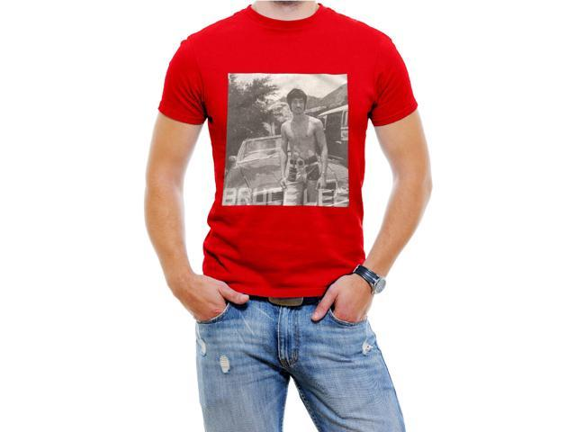 Classic Men Bruce Lee  Men T-Shirt Soft Cotton Short Sleeve Tee[Red,Large]