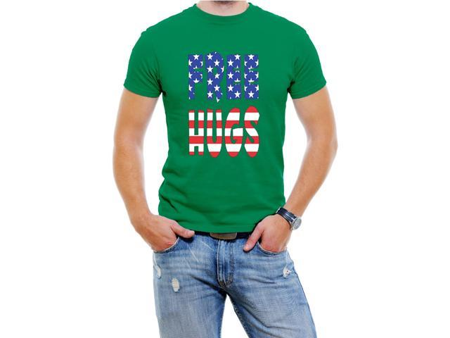Free Hugs USA Men T-Shirt Soft Cotton Short Sleeve Tee[Green,XXX-Large]