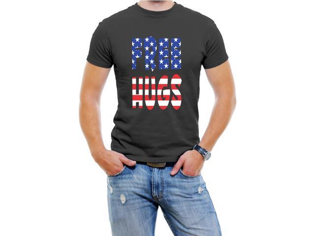 Free Hugs USA Men T-Shirt Soft Cotton Short Sleeve Tee[Black,Medium]