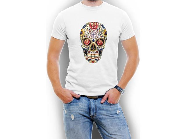 Carnival Skull Graphic Men T-Shirt Soft Cotton Short Sleeve Tee[White,Small]