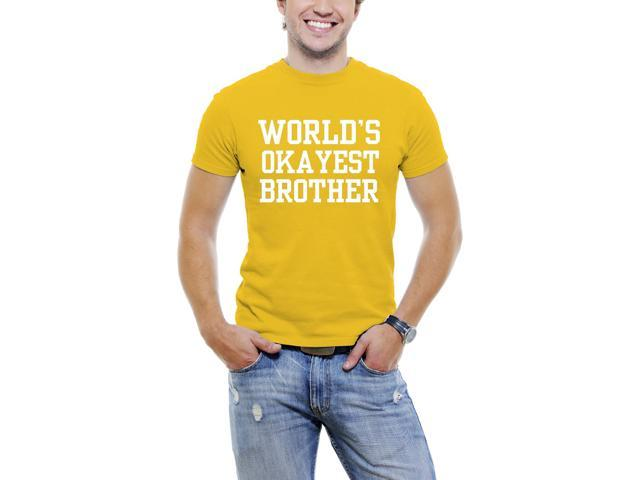 World's Okayest Brother Fun Men T-Shirt Soft Cotton Short Sleeve Tee [Yellow]