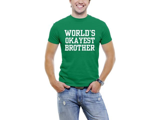 World's Okayest Brother Fun Men T-Shirt Soft Cotton Short Sleeve Tee [Green]