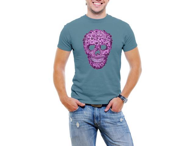 Flowered Skull Men T-Shirt Soft Cotton Short Sleeve Tee  [Slate Blue]