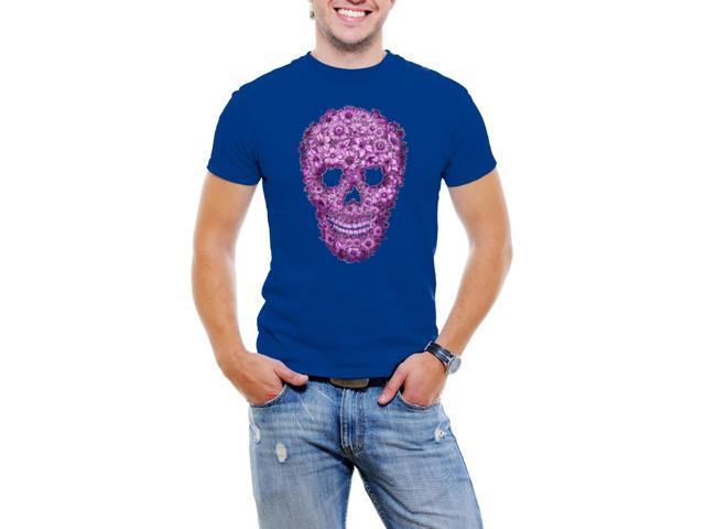 Flowered Skull Men T-Shirt Soft Cotton Short Sleeve Tee  [Royal Blue]