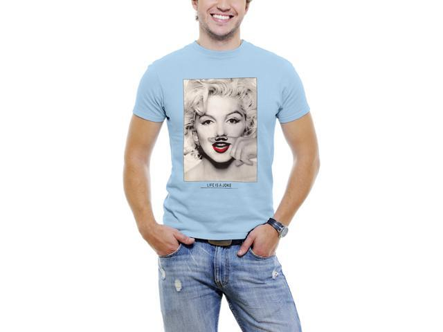 Marilyn Monroe Finger Mustache Men T-Shirt Soft Cotton Short Sleeve Tee [Sky Blue]