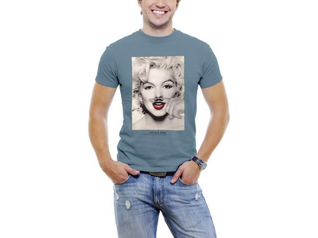 Marilyn Monroe Finger Mustache Men T-Shirt Soft Cotton Short Sleeve Tee [Slate Blue]